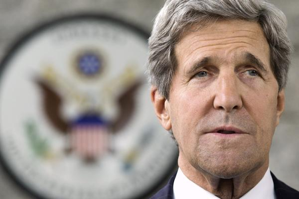 U.S. Secretary of State John Kerry makes a statement to the media on Tuesday.