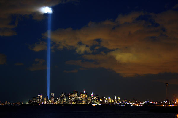 Lights symbolizing the twin towers of the World Trade Center light up the sky over Manhattan on the fifth anniversary of the Sept. 11 attacks. Almost 12 years after the attacks, the remains of firefighter Jeffrey Walz have been identified.