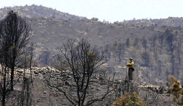 Fire crews mop up after the Yarnell Hill wildfire near Yarnell, Ariz. The blaze killed 19 members of the Granite Mountain Interagency Hotshot Crew.