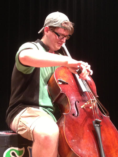 Austin Vetter portrays the cello-playing title character in Bay and the Spectacles of Doom.