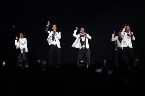 The New Kids on the Block on the stage at Staples Center as part of their 2013 tour.