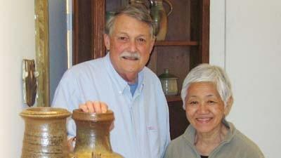 David (left) and June Otis operate Otis Pottery in East Jordan.