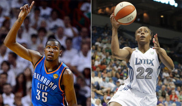 Oklahoma City's Kevin Durant and Minnesota's Monica Wright are engaged, she confirmed.