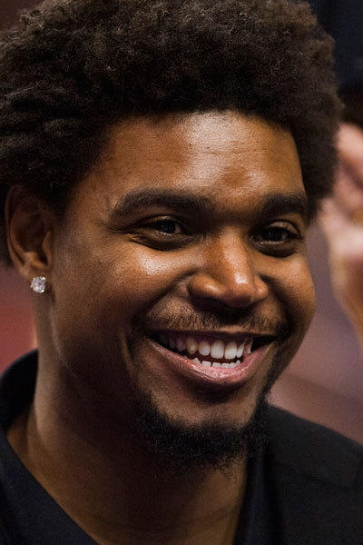 Philadelphia 76ers center Andrew Bynum (33) along the sidelines prior to the game against the Chicago Bulls at the Wells Fargo Center.