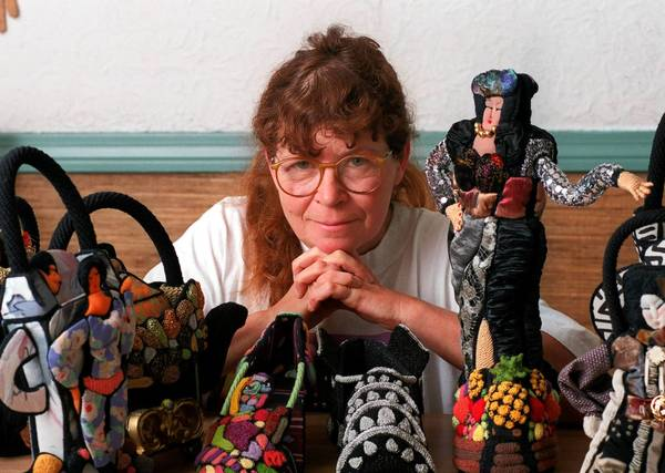 The amazing work of fiber artist Irene Reed, shown here in 2000, will go on sale this weekend at Japanalia in Hartford.