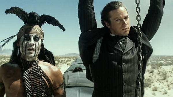 "Johnny Depp, left, and Armie Hammer in ""The Lone Ranger."""