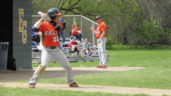 Plainfield East catcher Mike McGee at the plate during summer baseball season.