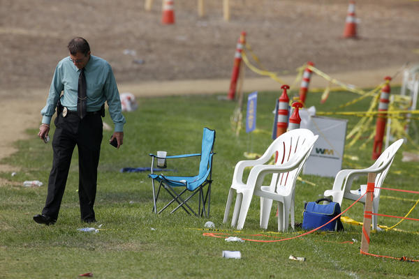 Simi Valley police investigate the scene where fireworks exploded and shot into the crowd during a Fourth of July celebration.