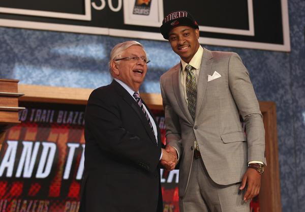 C.J. McCollum poses with NBA Commissioner David Stern after being selected by the Portland Trail Blazers during the NBA Draft on June 27. The Trail Blaizers formally introduced McCollum today.