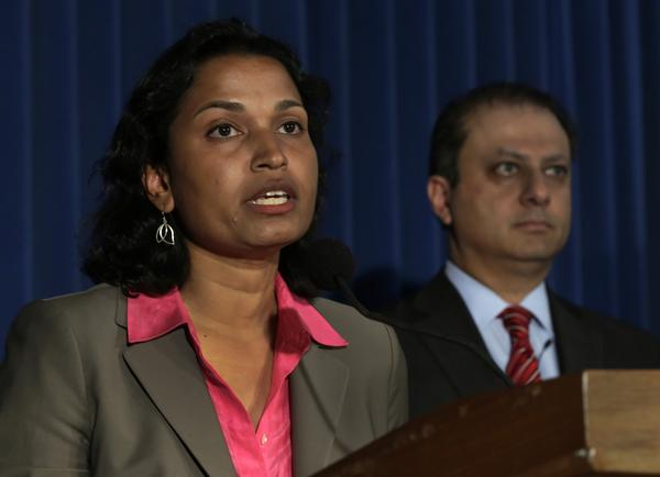 "Among the world's largest Internet-based currency companies, Liberty Reserve amounted to a financial hub for the black market, becoming ""the bank of choice for the criminal underworld,"" Preet Bharara, the U.S. attorney in Manhattan, said Tuesday. Above are Bharara, right, and Mythili Raman, acting assistant attorney general for the criminal division of the Department of Justice."