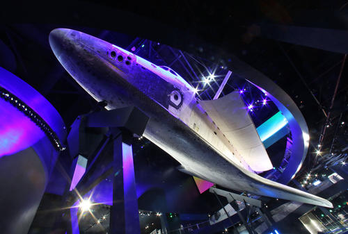 The historic Space Shuttle Atlantis is dramatically showcased as if it were in orbit on June 20, 2013 at the new $100 million home at Kennedy Space Center Visitor Complex. Opening to the public is scheduled for June 29.