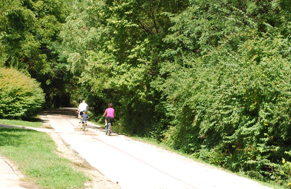 Cyclists on the Monon Trail in Indianapolis