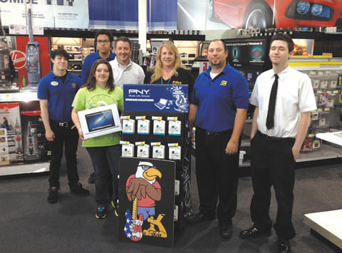 From left, Caleb Cheek, Best Buy sales associate; Nelson Rodriguez, Best Buy sales associate; Ashley Haller, Fantastic Scholastic award recipient; Patrick Haller, parent; Kym McKay, WWEG program director and midday host for 106.9 The Eagle; Matt Dawson, general manager of Best Buy of Hagerstown; and Lauton Miller, Geek Squad agent, Best Buy of Hagerstown.