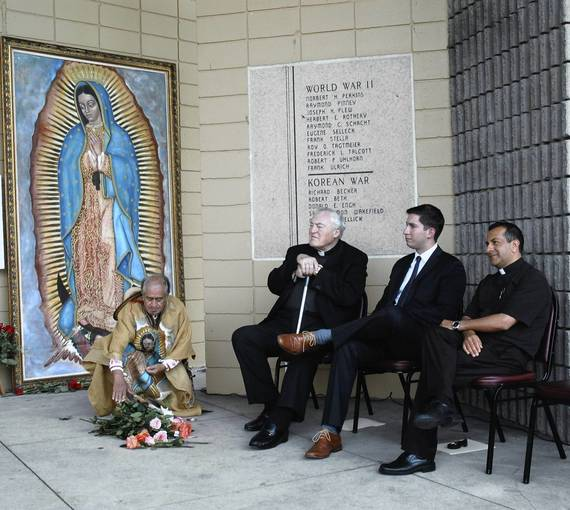 Father John P. Smyth, left, Des Plaines Mayor Matt Bogusz and Father Marco Mercado, Rector of Des Plaines Our Lady of Guadalupe Shrine, sit together during a press conference announcing plans for expansion at the shrine.