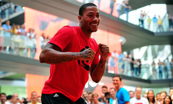 HERZOGENAURACH, GERMANY - JULY 05:  Derrick Rose of Chicago Bulls visits adidas headquarters on July 5, 2013 in Herzogenaurach, Germany.  (Photo by Lennart Preiss/Getty Images for adidas)