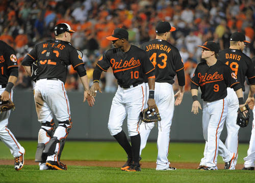 The Orioles celebrate their 4-2 win and series sweep over the New York Yankees at Camden Yards.