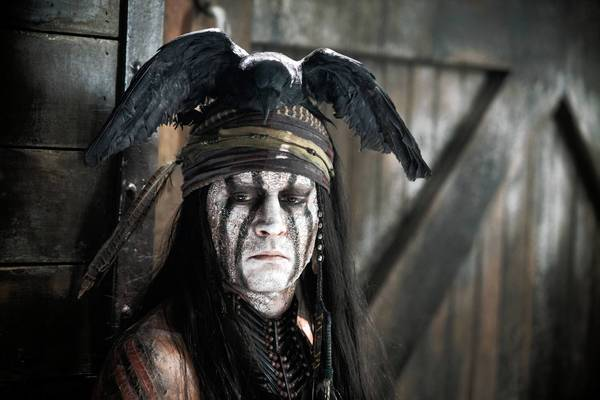 "Johnny Depp as Tonto in Disney's ""The Lone Ranger."""
