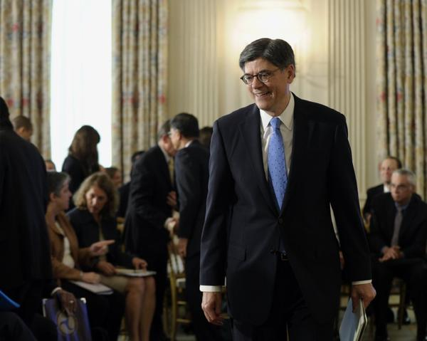 Treasury Secretary Jacob Lew arrives at the White House for President Obama's remarks on technology.