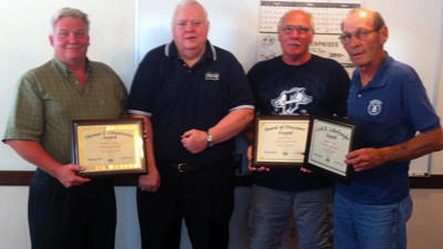 Central City council members honored by PSAB for service. Council members from left to right: Dan Dabbs, president; Fred Rosemeyer, PSAB board member; Bob Sanzo, vice president; and Woodrow Clapper, mayor,