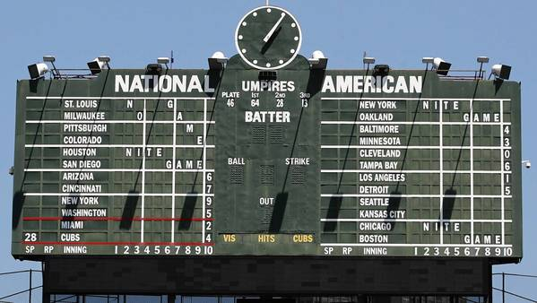 "Wrigley Field's scoreboard clock could get a ""branded name in white letters"" on it under a plan approved by the city Landmarks Commission."