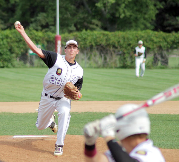 Aberdeen starter Carter Paulson delivers during the Smitty's 6-1 loss to the Bandits in Game 1 of a Legion baseball doubleheader on Monday evening at Bob Shelden Field in Brookings. Brookings Register Photo by Sean Welsh