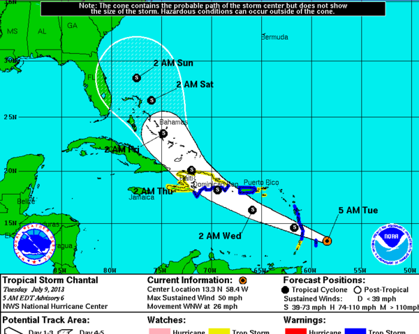 Tropical Storm Chantal was projected to move generally toward Florida over the next five days, putting much of the state in the cone of error.