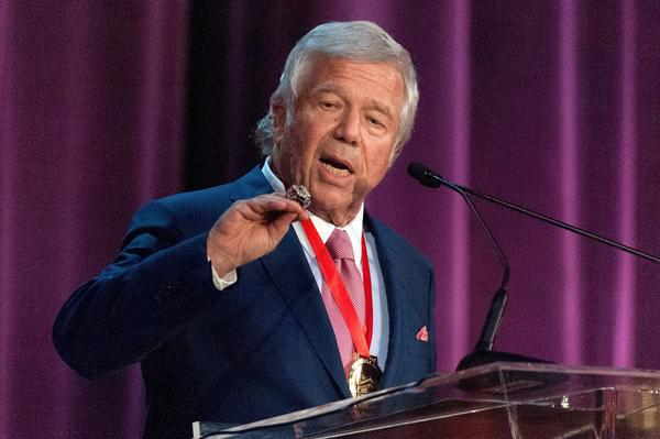 New England Patriots owner Robert Kraft, shown accepting the Carnegie Hall Medal Of Excellence in June, says former tight end Aaron Hernandez, now accused of first-degree murder, was always respectful toward him.