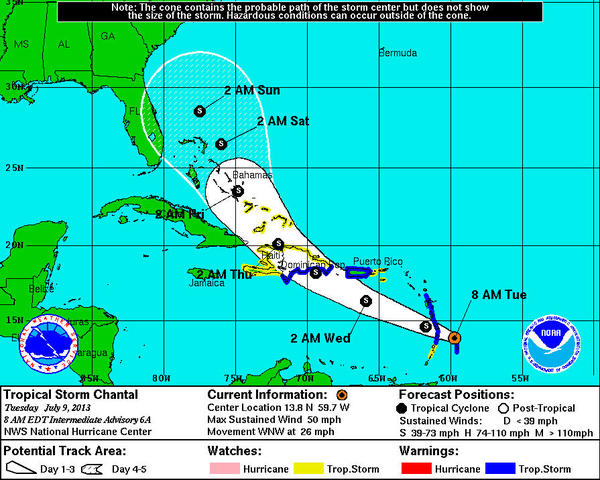 Tropical Storm Chantal is taking a rare path for a storm forming so early in the Atlantic hurricane season.