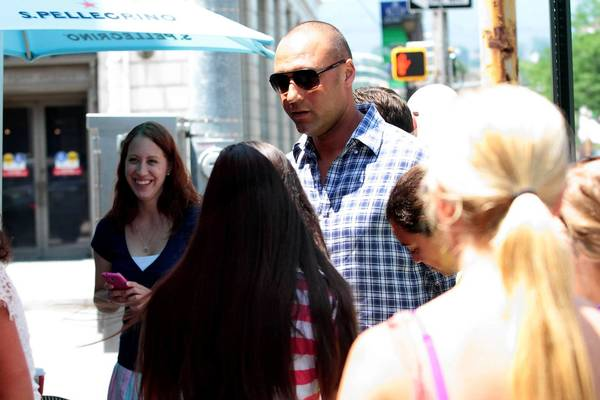 Derek Jeter talks with fans outside the Downtown Deli and Eatery in Scranton on Monday, July 8, 2013. The future Hall of Famer is on a rehab assignment with the Scranton/Wilkes-Barre RailRiders.