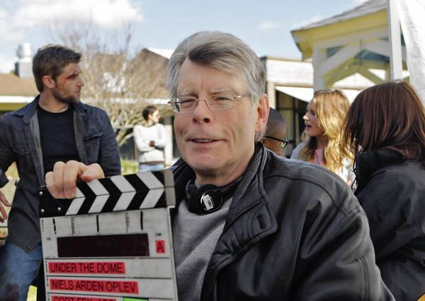 Author Stephen King is shown on the set of the CBS series 'Under the Dome,' based on his novel.