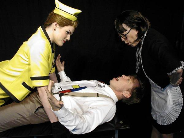 """Kim Hough (from left), Patrick Sylvester and Kate Ingram in """"Boeing Boeing."""""""