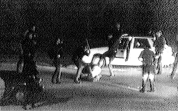 This image made from video shot March 3, 1991, by George Holliday shows police officers beating Rodney King.