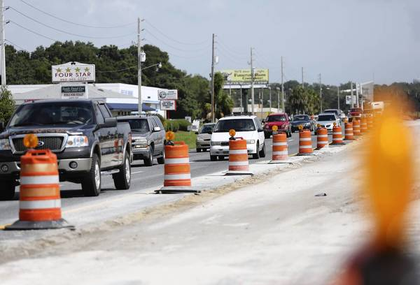 Construction continues along U.S. Highway 27-441 in Fruitland Park on June 14, 2013.