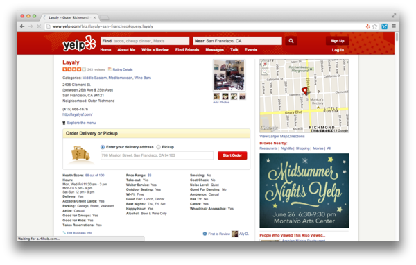 A screenshot of a Yelp page featuring its new online delivery or pickup feature.