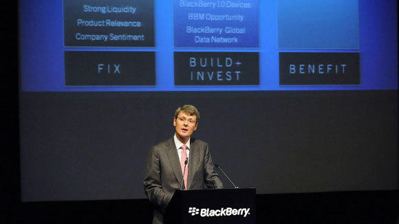 CEO Thorsten Heins addresses shareholders at BlackBerry's annual meeting Tuesday in Waterloo, Ontario.