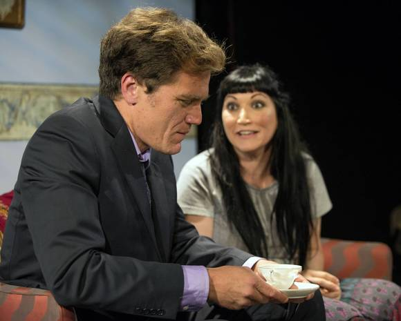 "A Red Orchid ensemble members Michael Shannon (Carter, left) and Mierka Girten (Cecilia) in ""Simpatico."""