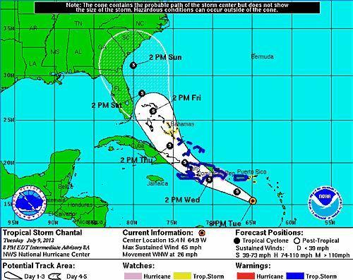 Tropical Storm Chantal still poses a threat to most of Florida, as the system is projected to draw close to the state on Saturday.
