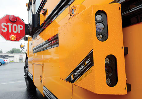 This Washington County Public Schools bus has been outfitted with cameras to record vehicles that pass it while it is loading or unloading children when the stop sign on the bus is fully engaged.
