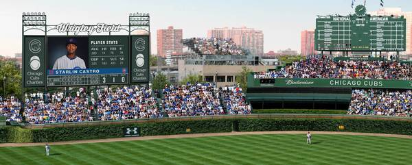 A rendering of proposed renovation for Wrigley Field includes a 6,000-square-foot video board in left field. The Cubs are also weighing the possibility of getting a sponsor for the center field scoreboard clock.
