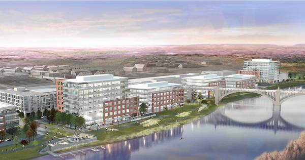 Artist rendering of the view from across the Lehigh River looking northwest of The Waterfront.