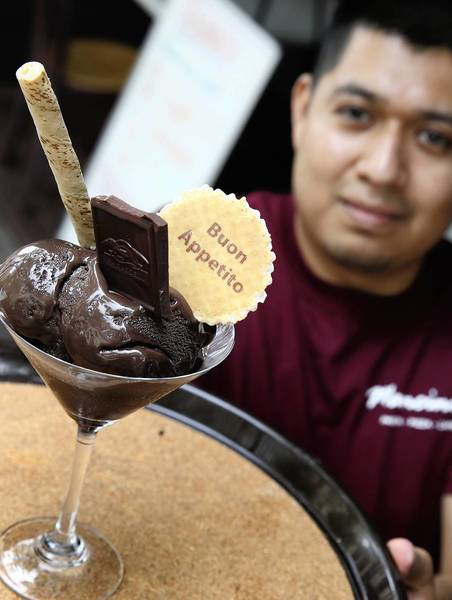 The dark chocolate sorbet at Mancini's in Oak Park is the 50 shades of chocolate sorbet.