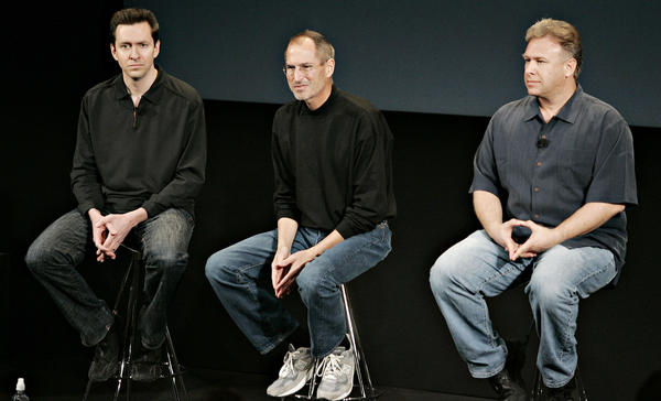 Steve Jobs, then chief executive of Apple Inc., center, speaks during a news conference on March 6, 2008, with Phil Schiller, product marketing manager, right, and Scott Forstall, iPhone software vice president. Apple had just said it will let outside developers write native apps for the iPhone.