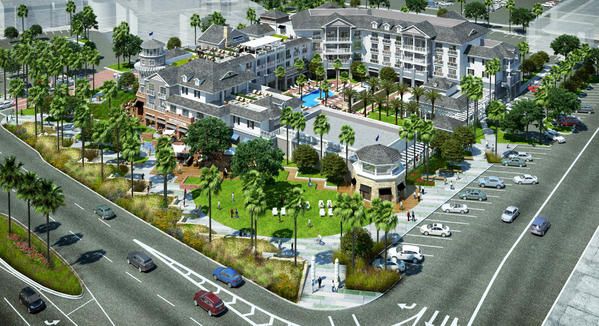 """RD Olson Development proposed a 130-room boutique hotel for Newport Beach's old city hall site on Newport Boulevard. The hotel would be built in a """"Newport Nautical"""" architectural style."""
