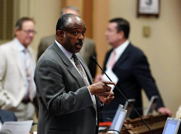 State Sen. Roderick D. Wright (D-Inglewood) is shown at the Capitol during a Senate session in July. He has won another delay in his trial on voting fraud and perjury charges.