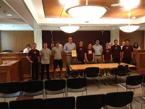 The Farmington High School crew team was honored at the town council meeting Tuesday night for their successful season.