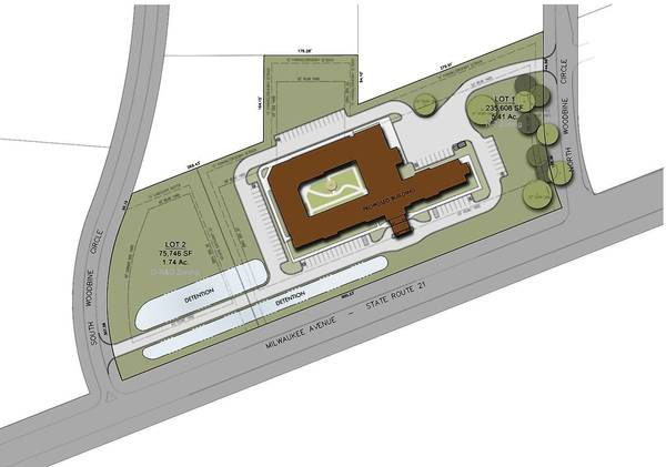 A site plan proposal of the new memory care facility in Vernon Hills is shown here.