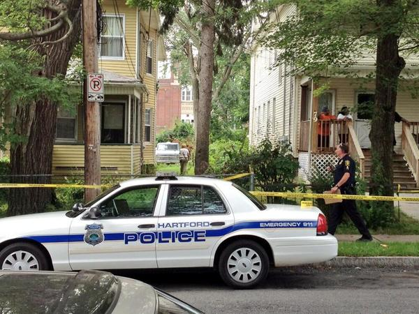 Police on Vine Street in Hartford Wednesday morning after one person was shot in the chest.