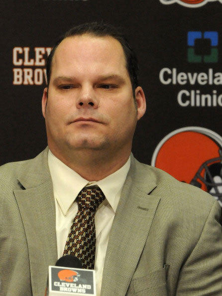 General manager Tom Heckert of the Cleveland Browns listens to a question during a press conference to introduce newly hired head coach Pat Shurmur on January 14, 2011 at the Cleveland Browns offices in Berea, Ohio.
