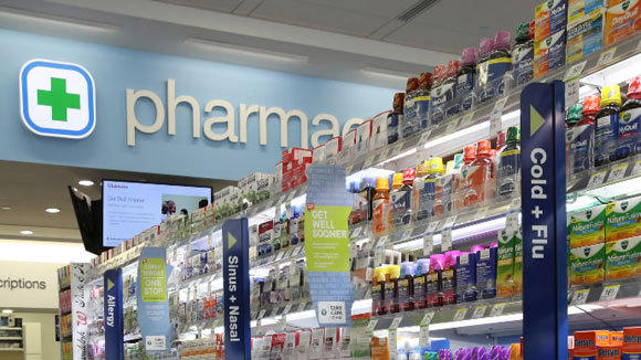 The cold remedies aisle in the Walgreen store at State and Randolph in Chicago.