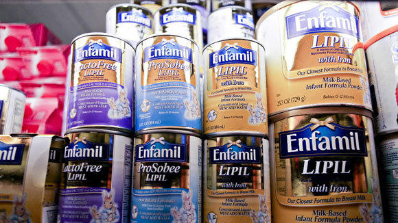 Enfamil infant formula, made by Mead Johnson Nutrition Co., sits in a New York supermarket in a 2009 file photo.